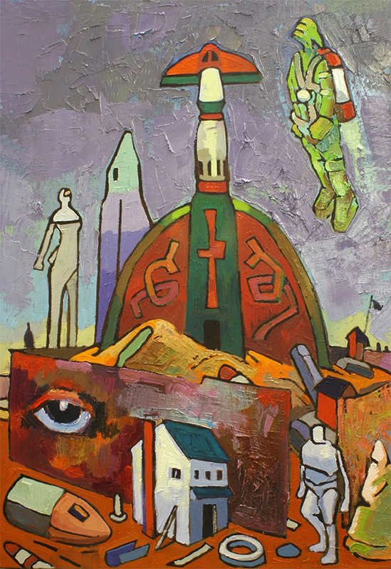 ANCIENT ROCKET - 32 x 24 - oil - 2011