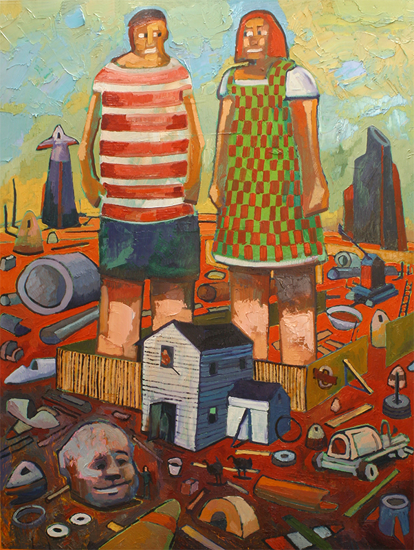 BACKYARD GIANT CHILDREN - 48 x 36 - oil - 2011