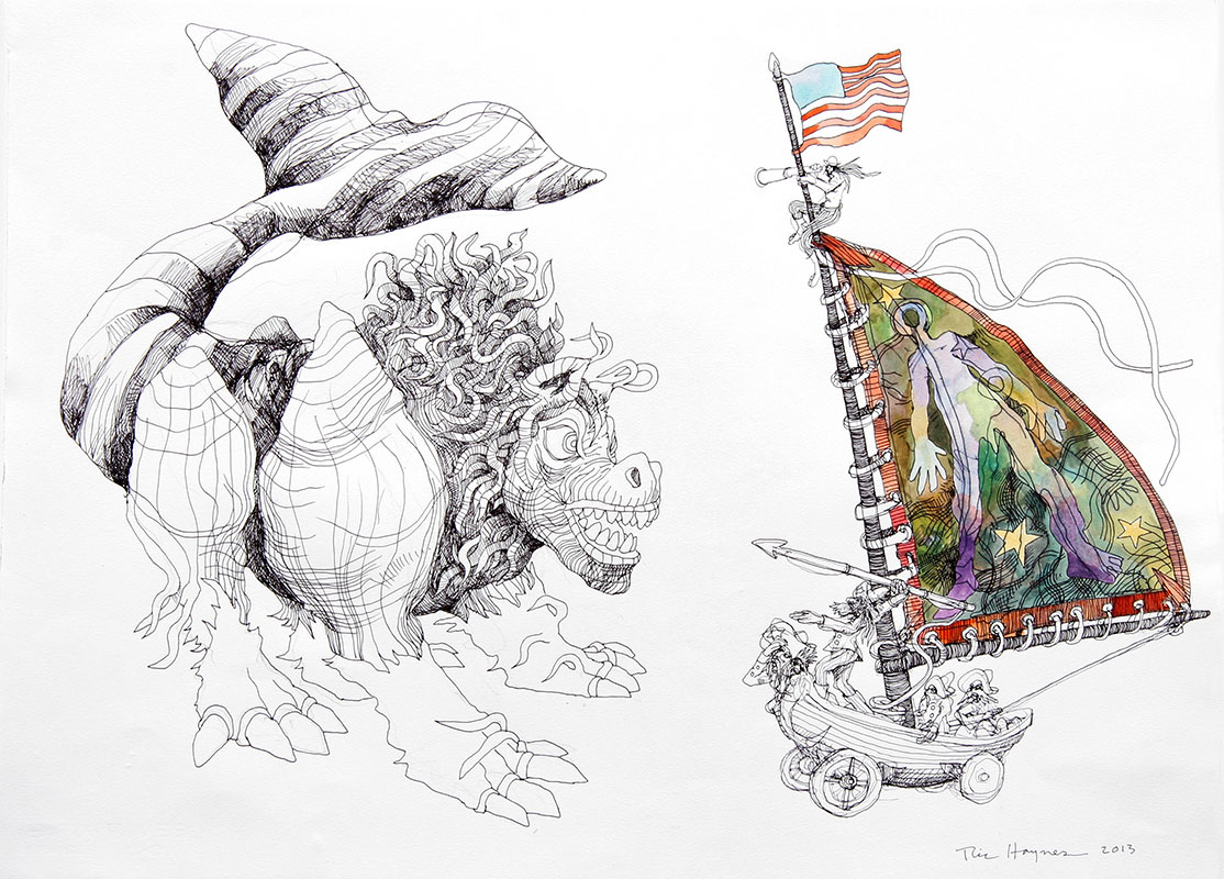 EARLY WHALING - 19 x 24 - colored pencil and pen - 2013