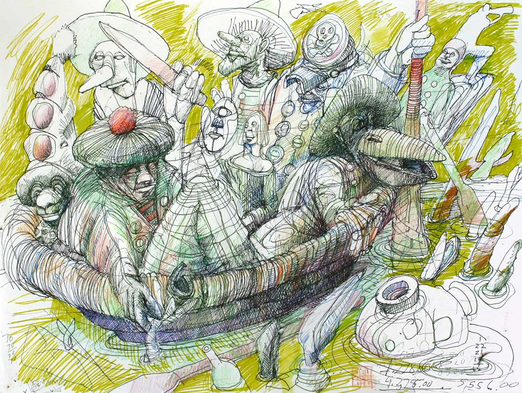 HER FELLOW PASSENGERS - 18 x 24 - ink and color pencil - 1996