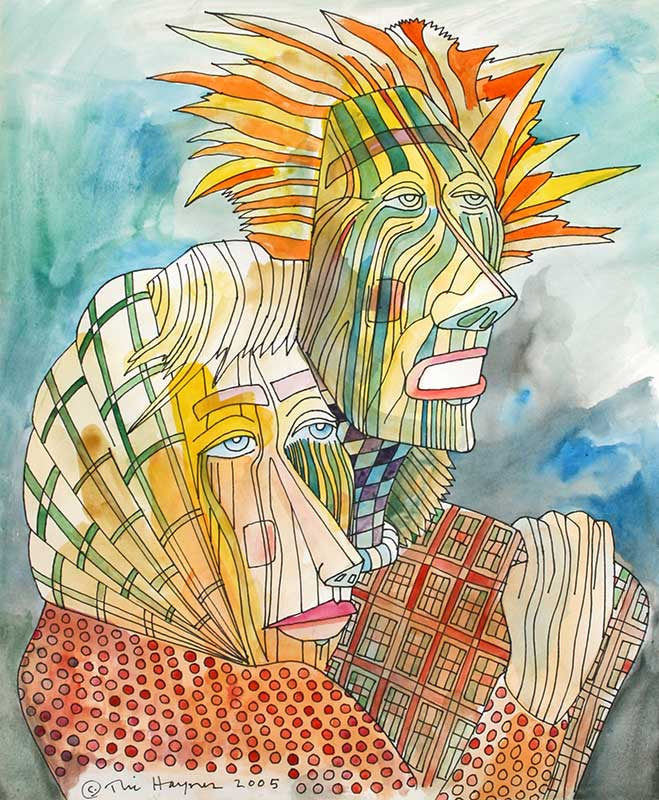 RESCUER AND SURVIVOR - 24 X 18 - ink and watercolor - 2005