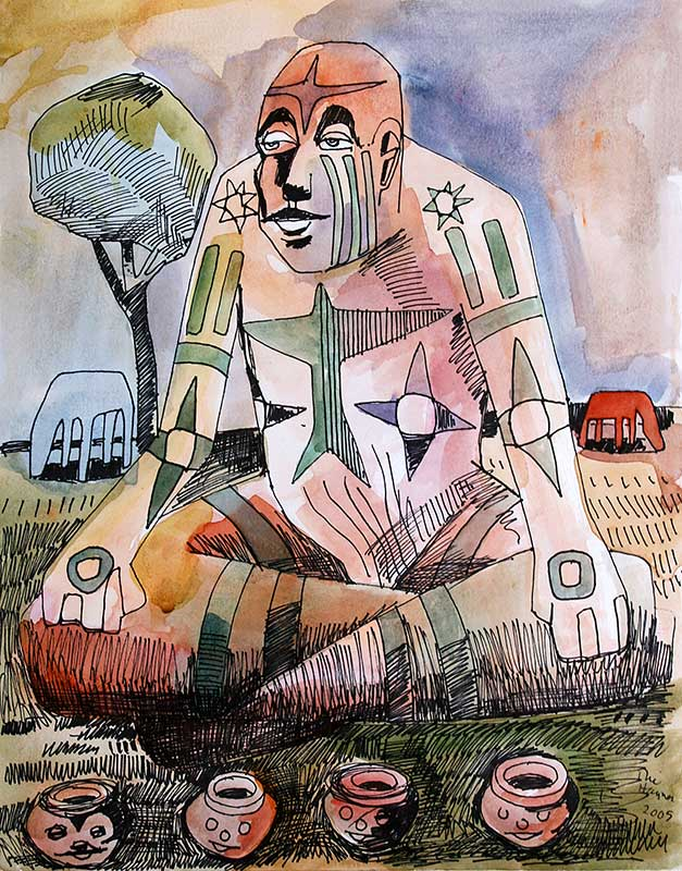 THINKER WITH POTS - 24 X 18 - ink and watercolor - 2005
