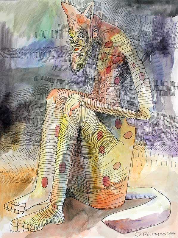 THINKING - 24 X 28 - ink and watercolor - 2005