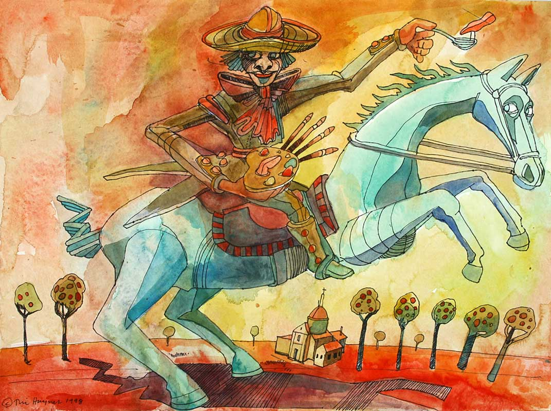 GALLOPING GOYA - 15 x 20 - ink and watercolor - 1998