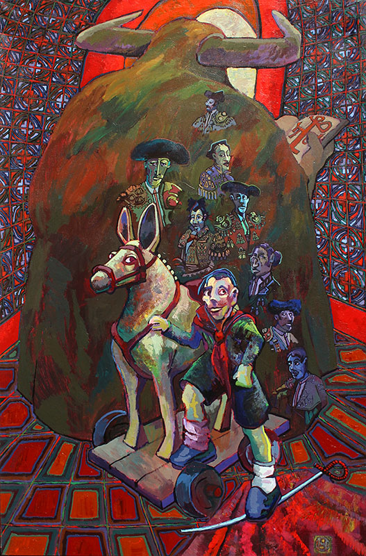FATE BEHIND THE MOTHER'S CAPE - 74 x 49 - acrylic - 1998