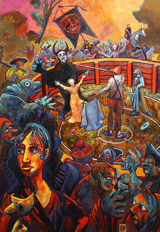 CONFESSION FROM THE RING - 72 x 50 - acrylic - 1998